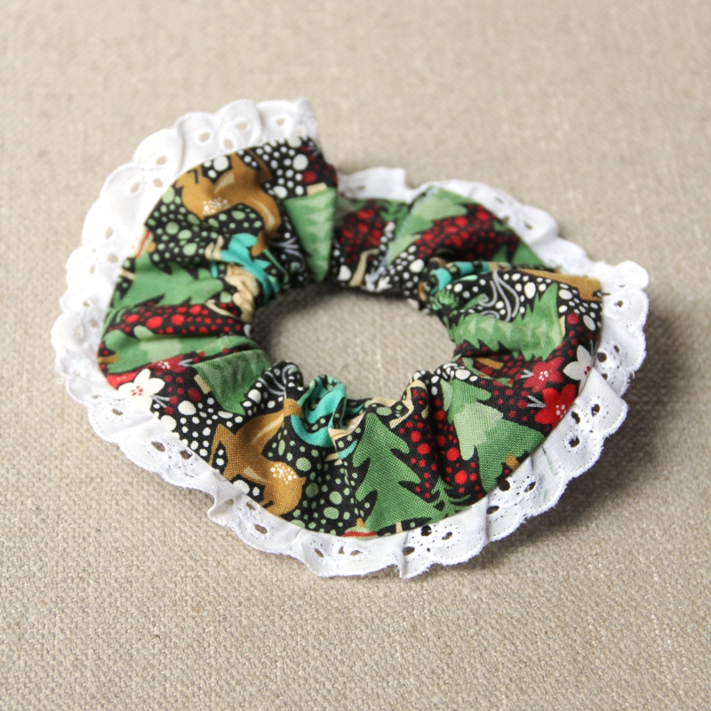 Scrunchie with Lace Trim from craftystaci.com