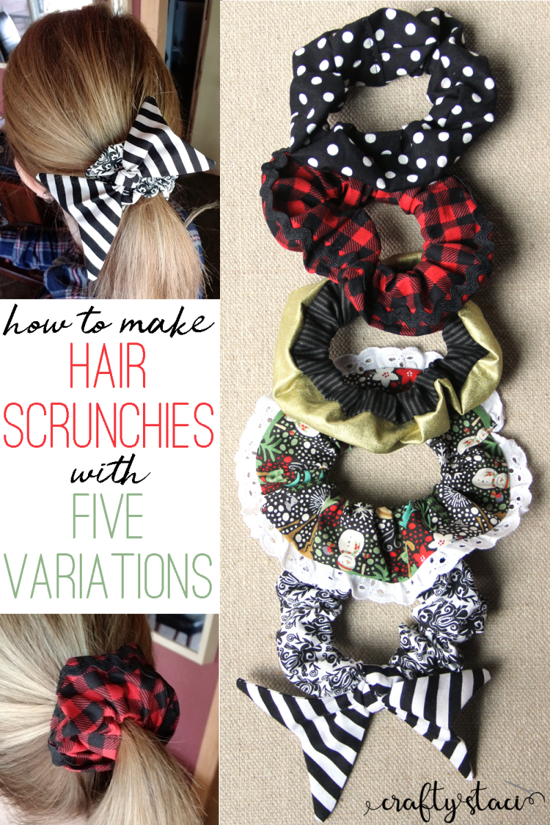 How to make hair scrunchies with five variations from craftystaci.com #scrunchies #giftstomakeforher #diygifts #easysewing