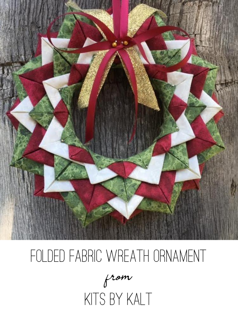 Folded Fabric Wreath Ornament from Kits by Kalt