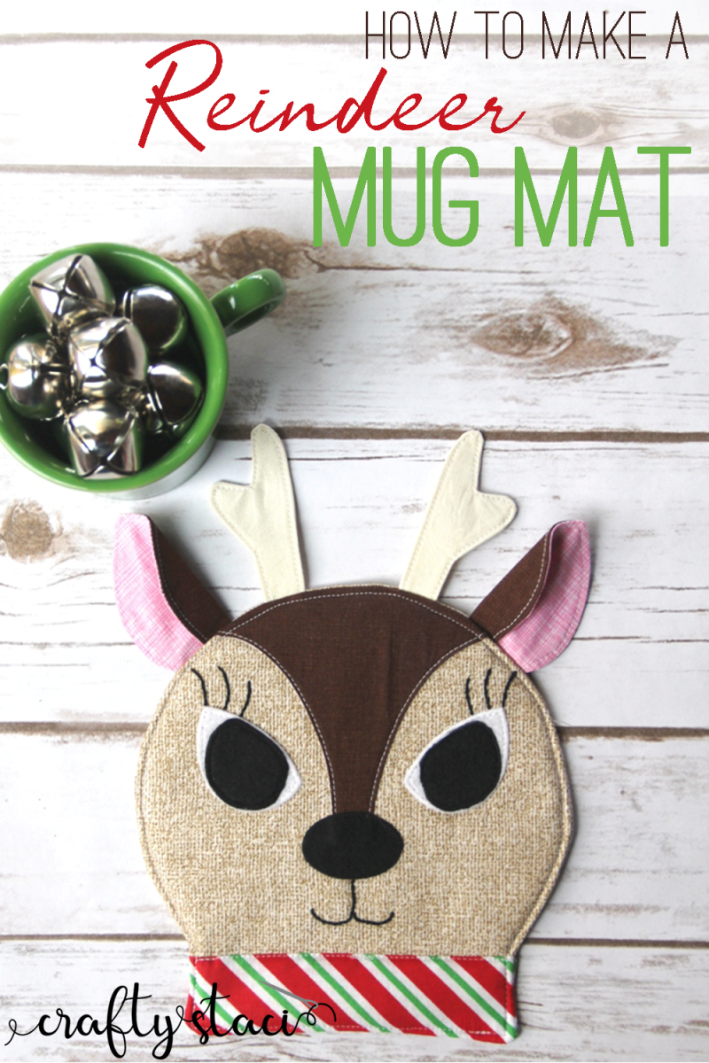 How to make a reindeer mug mat from craftystaci.com #christmassewing #reindeer #mugmat #mugrug