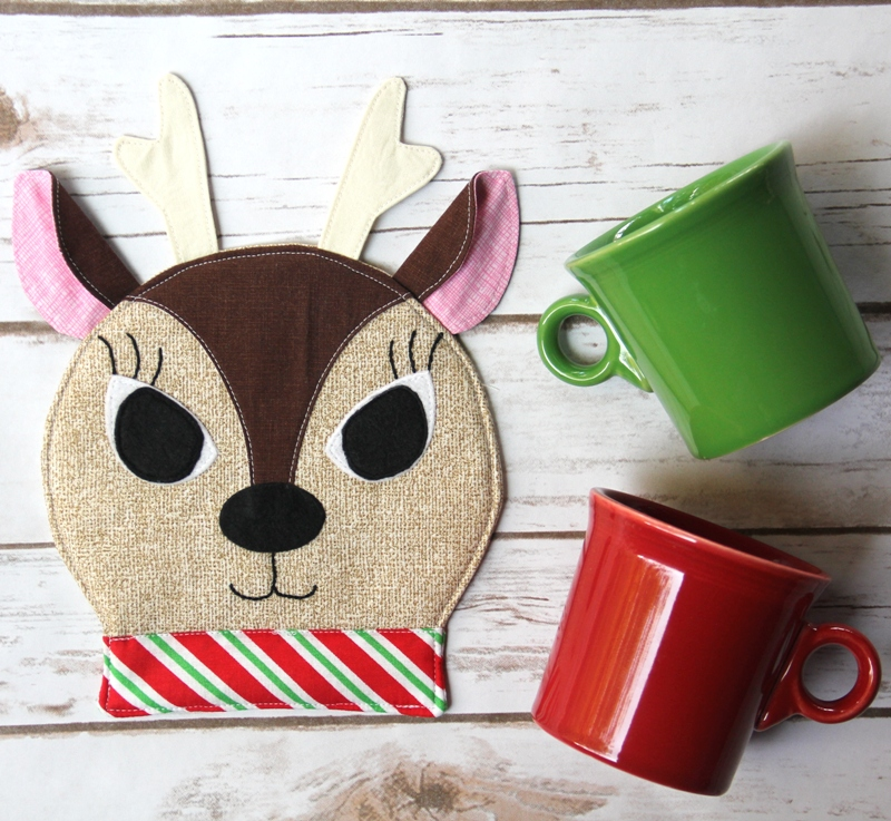 Reindeer Mug Rug from Crafty Staci