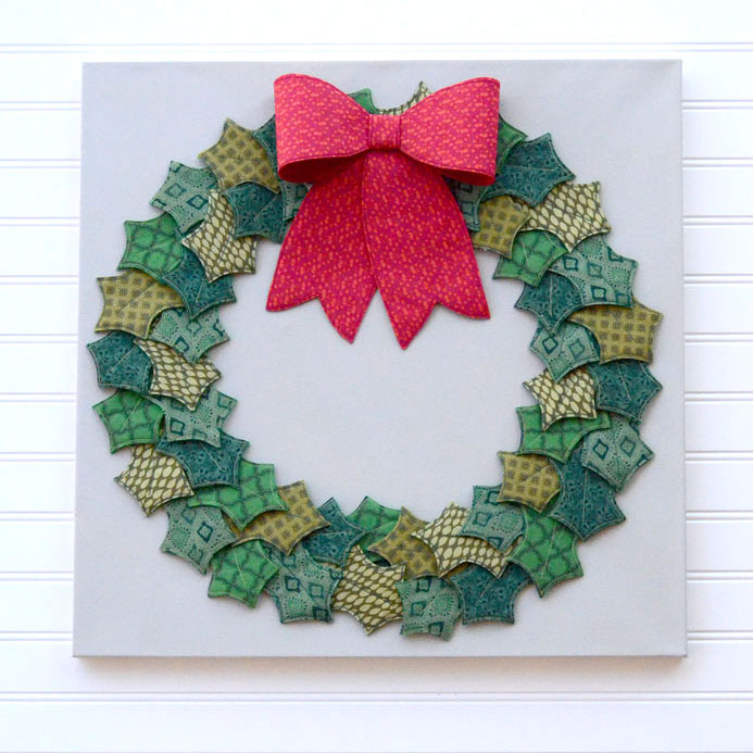 Fabric and Felt Holly Wreath from Orange Bettie