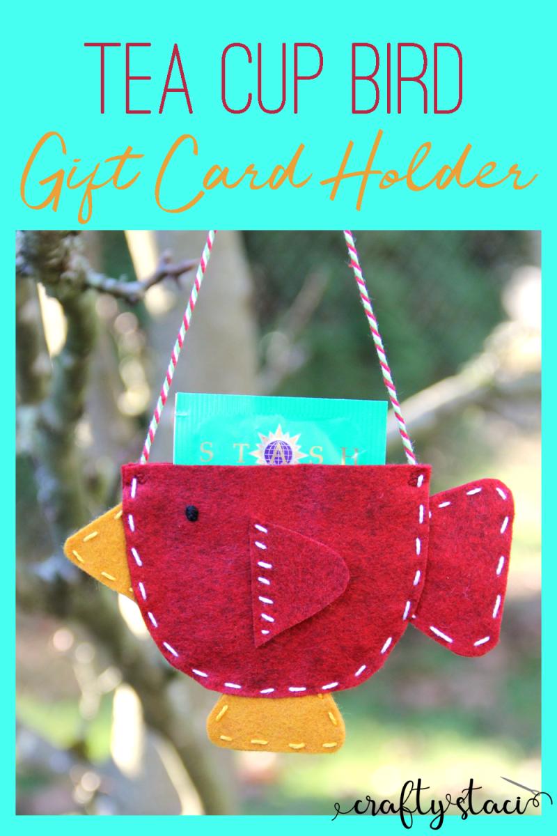 Tea Cup Bird Gift Card Holder from craftystaci.com #giftcardholder #cashgiftholder