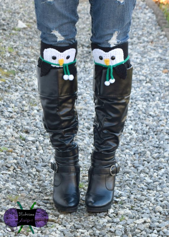 Peeping Penguin Boot Cuff Pattern from BlackstoneDesigns.jpg