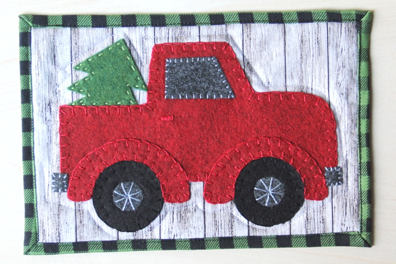 Red Truck Mug Rug from craftystaci.com