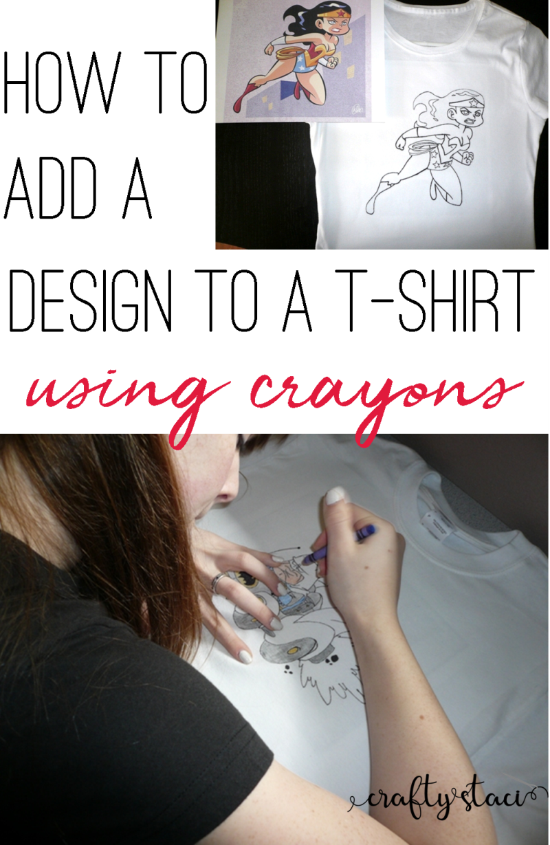 How to add a design to a t-shirt using crayons from craftystaci.com #tshirthacks #kidcrafts #crayons