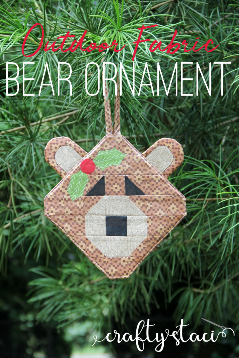 Outdoor Fabric Bear Ornament from craftystaci.com #outdoorchristmasdecor #bears #christmasornament #oregon