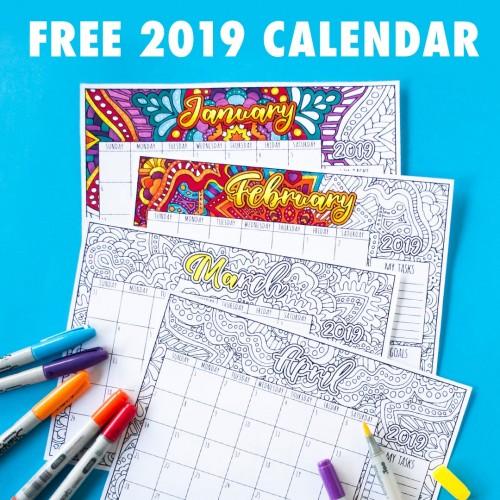 2019 Coloring Calendar from Sarah Renae Clark