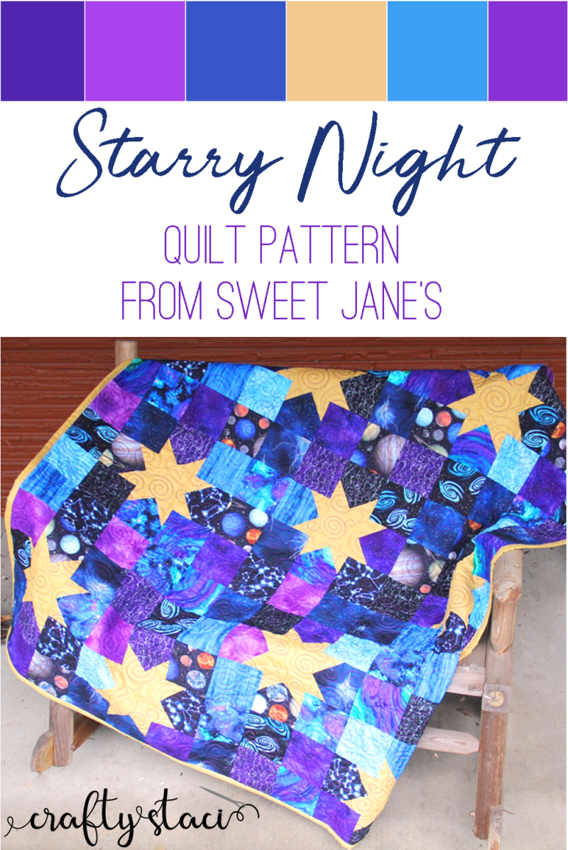 Starry Night Quilt on craftystaci.com #quilts #patchwork #quiltpatterns #purplequilt