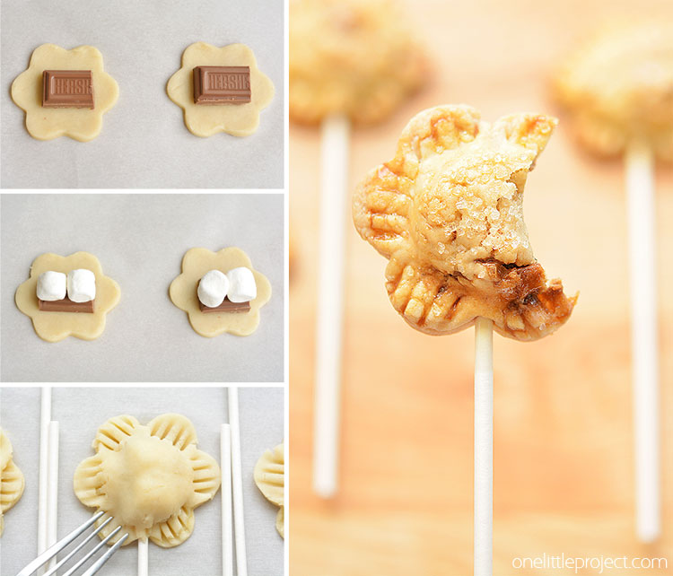 Flower Shaped S'more Pie Pops from One Little Project