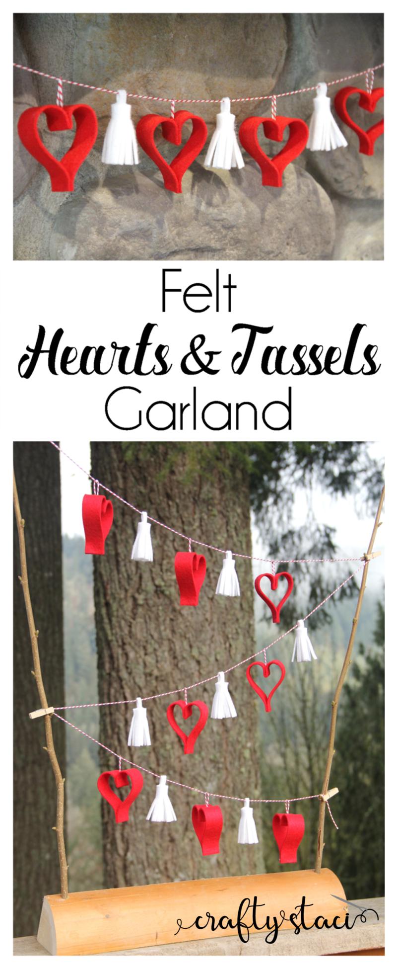 Hearts and Tassels Garland from craftystaci.com #feltcrafts #valentinecrafts #heartcrafts