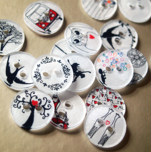 Buttons Using Shrink Plastic from Scissors Paper Wok