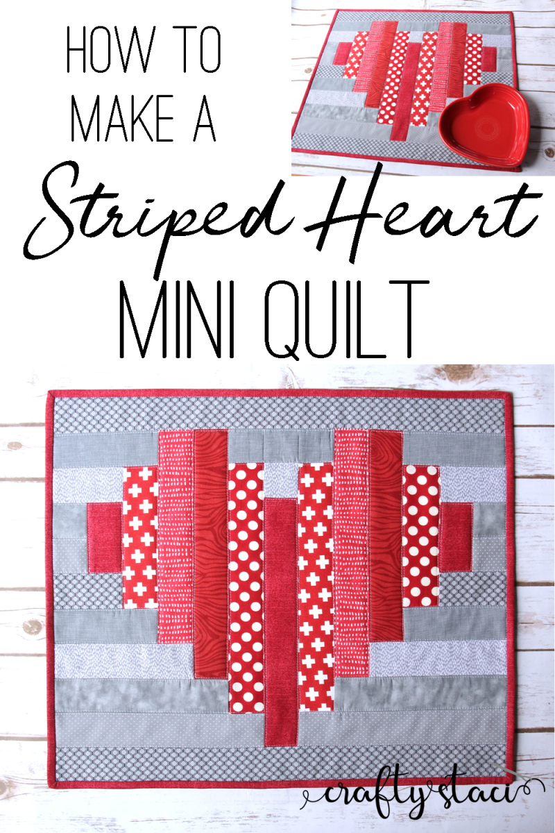 How to make a striped heart mini quilt from craftystaci #valentinequilt #heartquilt #valentinesewing