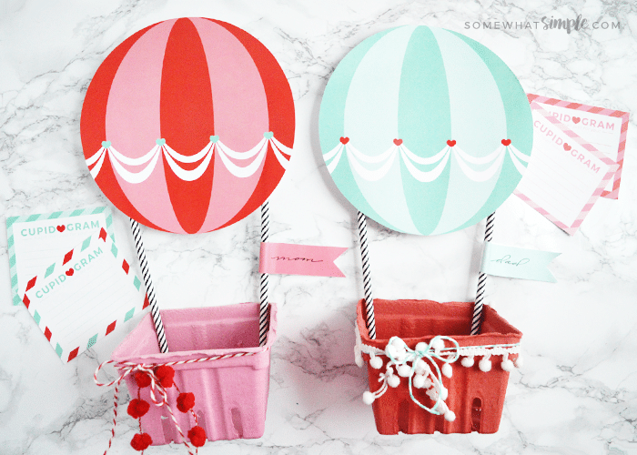 Hot Air Balloon Valentine Mailboxes from Somewhat Simple
