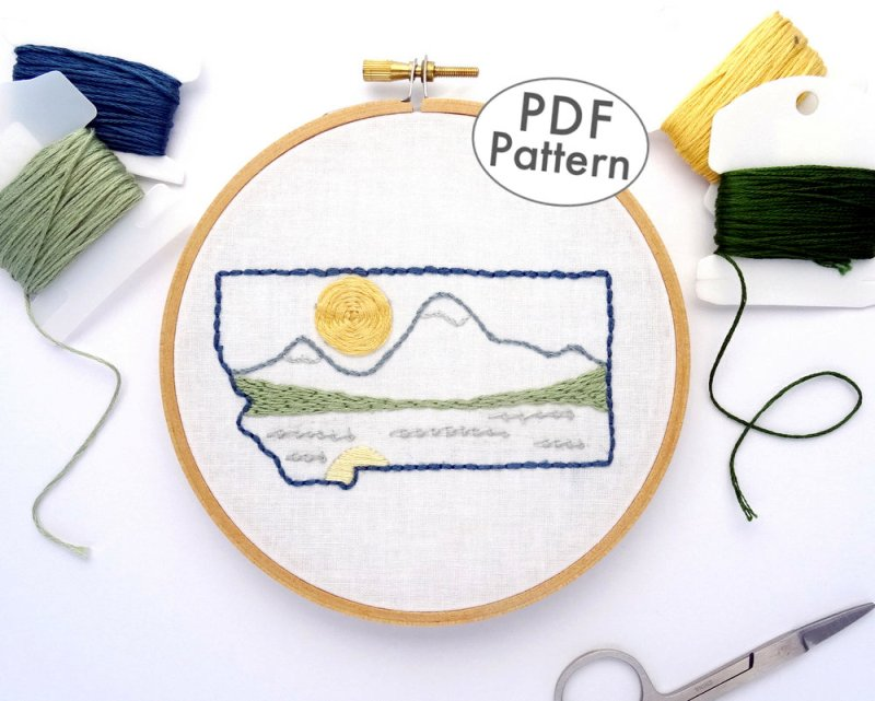 Montana Hand Embroidery Pattern from WanderingThreadsArt