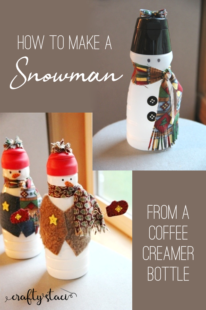How to make a snowman from a coffee creamer bottle from craftystaci.com #snowmancraft #recyclingcraft #giftstomake