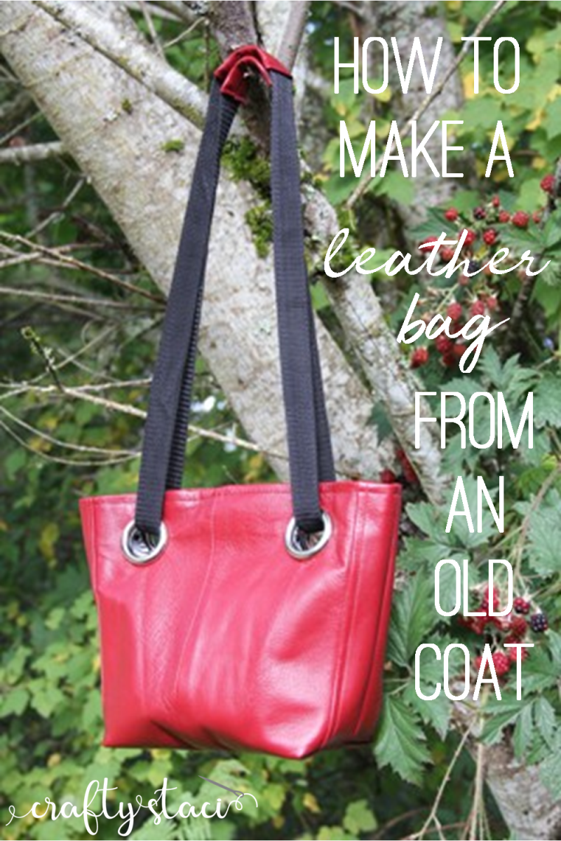 How to make a leather bag out of an old coat from craftystaci.com #leathercrafts #reusingleather #bagtutorial