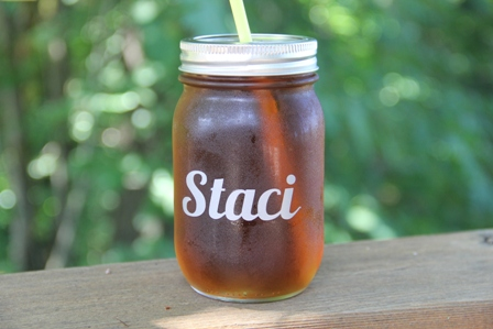 Personalized Drinking Jar Wedding Favors from craftystaci.com