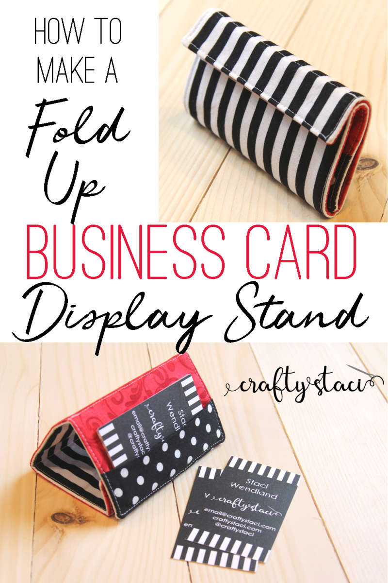 How to make a fold up business card display stand from craftystaci.com #craftshow #businesscardholder #sewingpattern