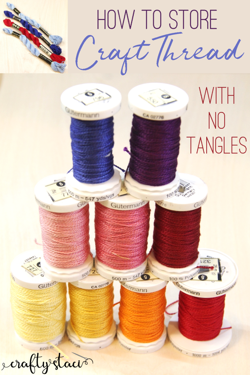 How to store craft thread with no tangles from craftystaci.com #crafthacks #craftorganization #pearlcotton #embroideryfloss #craftthread