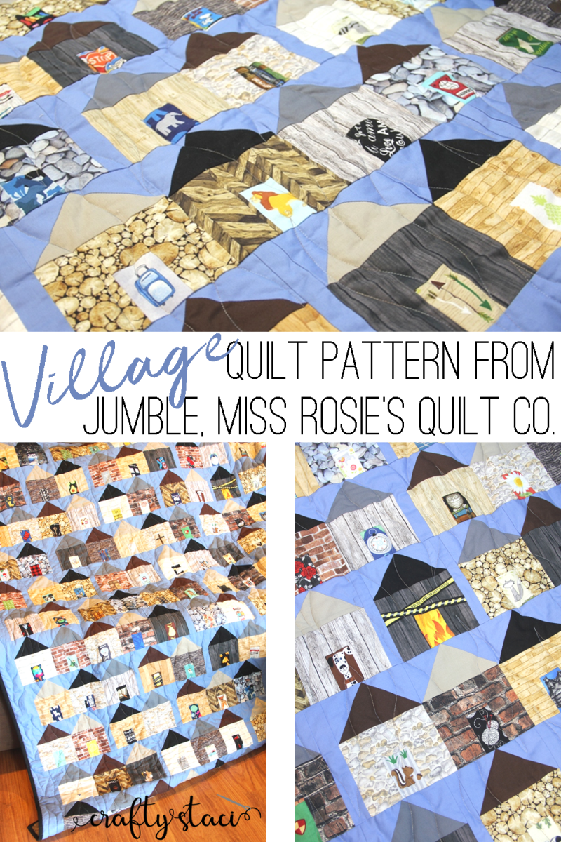 Sewing a Village Quilt, Pattern from Jumble, Miss Rosie's Quilt Co. on craftystaci.com #sewingavillage #villagequilt