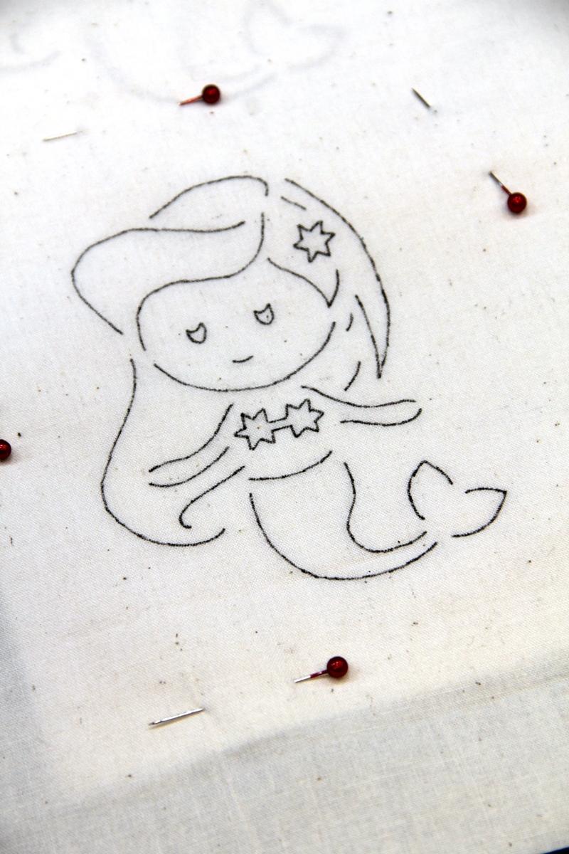 Pin fabric to mermaid pattern