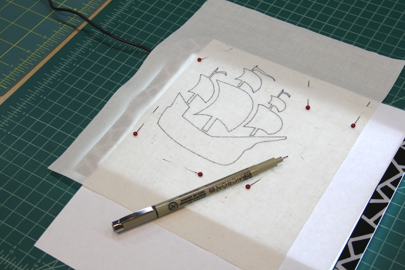 Tracing stencil design over light source