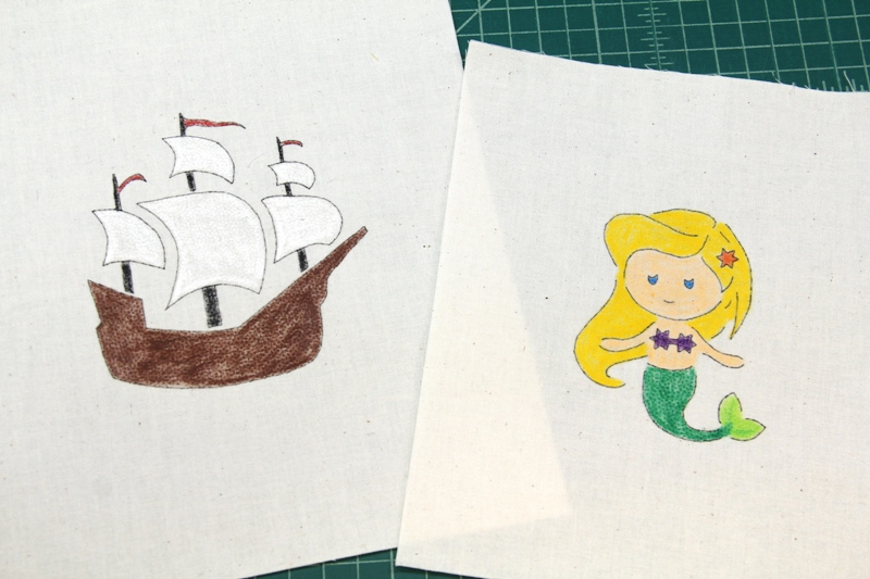 Mermaid and ship colored with crayons