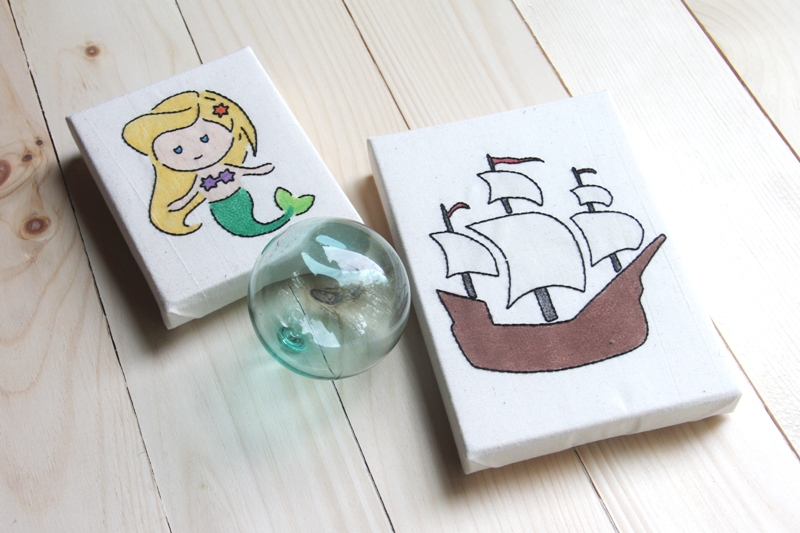 Mermaid and Pirate Ship Embroidery from Stencils on craftystaci.com