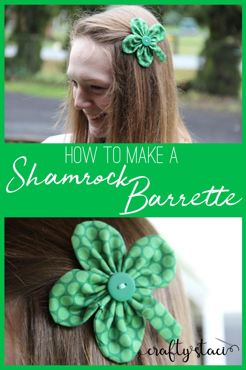 How to make a shamrock barrette from craftystaci.com #stpatricksdaysewing #stpatricksdaybarrette