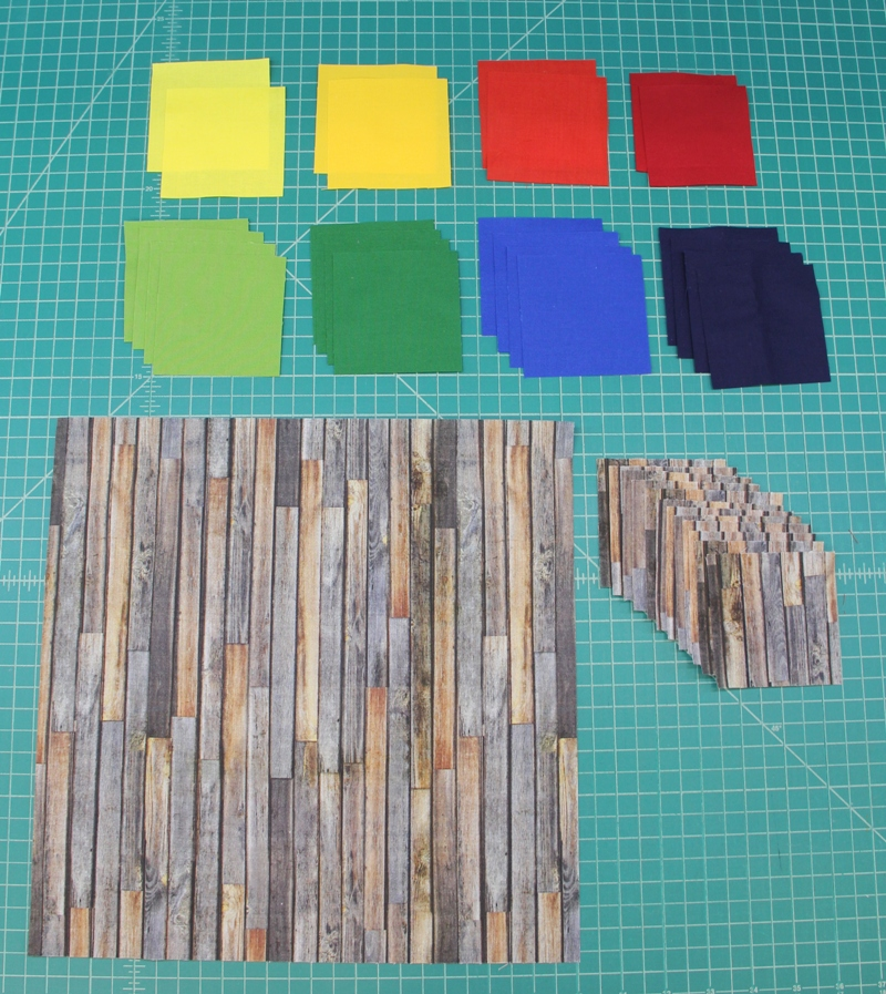 Squares cut for barn quilt