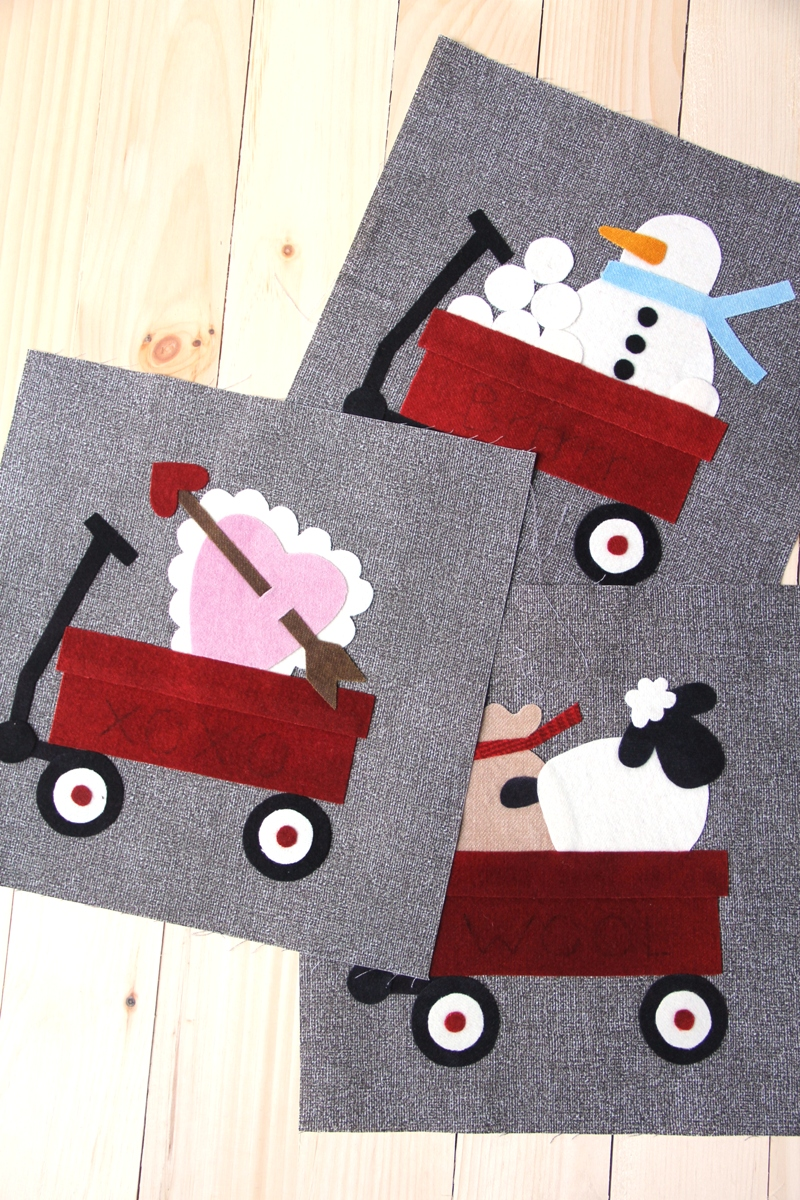Wool applique, ready for embroidery