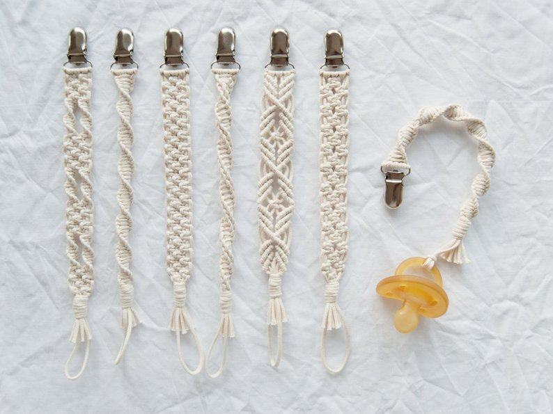 Macrame Baby Pacifier Clips from POEMO