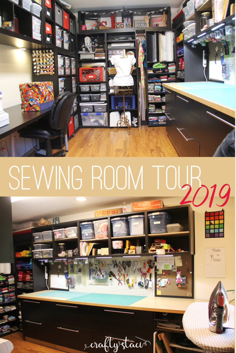 Sewing Room Tour 2019 on Crafty Staci #sewingroom #sewingstudio #craftroom #roomtour