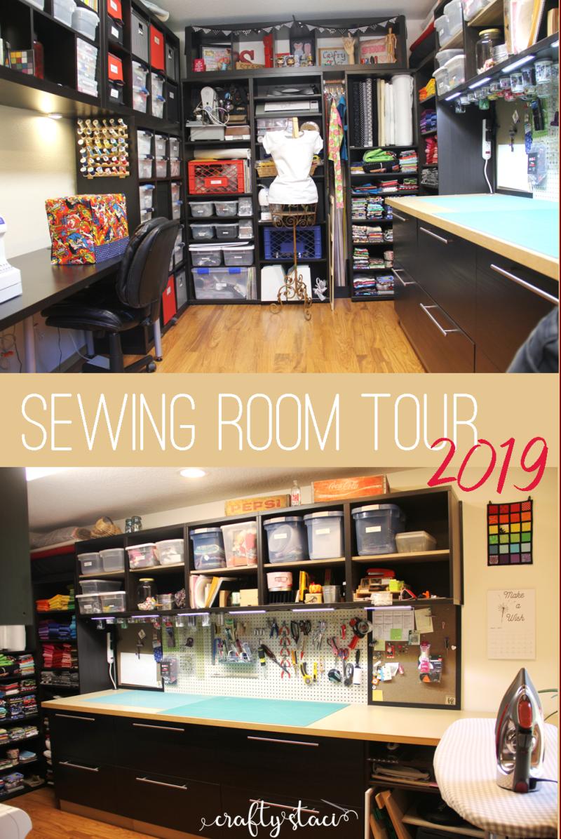 Sewing Room Tour 2019 on Crafty Staci #sewingroom #sewingstudio #craftroom #roomtour