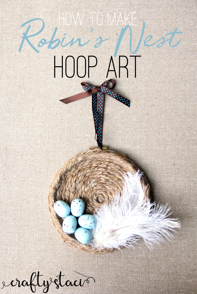 How to make robin's nest hoop art on craftystaci.com #hoopart #robinseggblue #embroideryhoop #springdecor