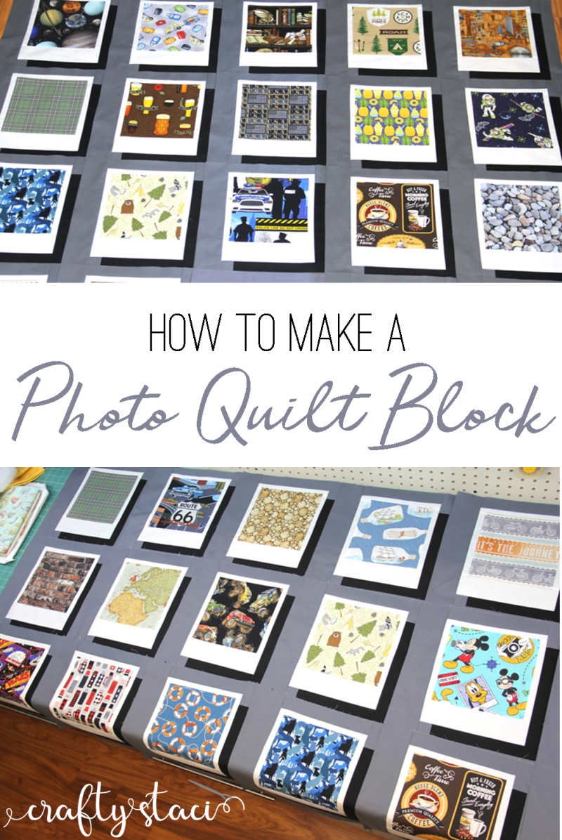 How to make a photo quilt block from craftystaci.com #photoquilt #polaroidquilt #quiltblock