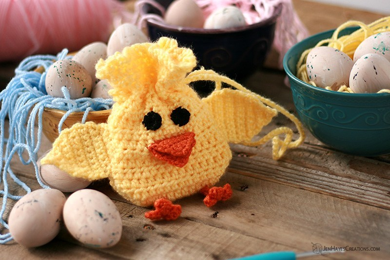 Spring Chick Drawstring Crochet Bag from Jen Hayes Creations