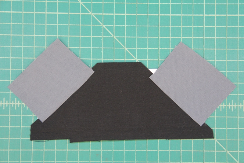 Section B sewn together for camera quilt block