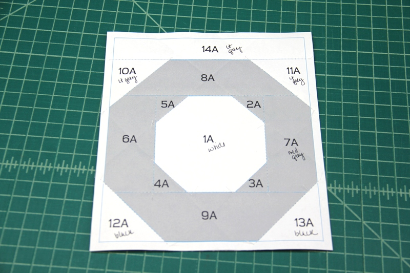 Paper side of section A for camera quilt block