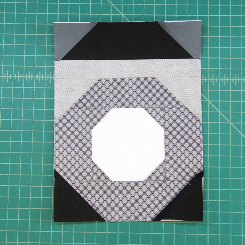 Sections A and B sewn together for camera quilt block