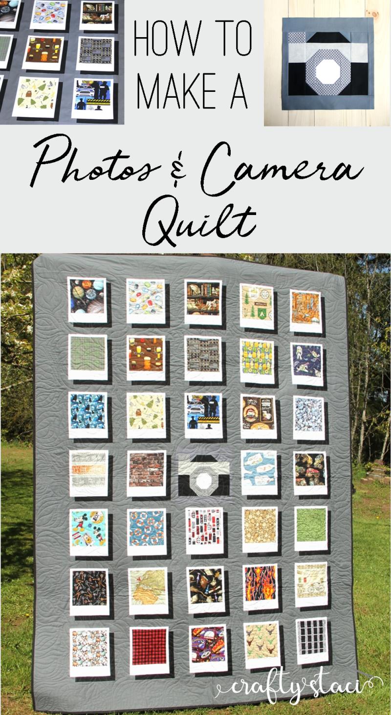 How to make a photos and camera quilt from craftystaci.com #cameraquilt #photoquilt #polaroidquilt #quiltforphotographer