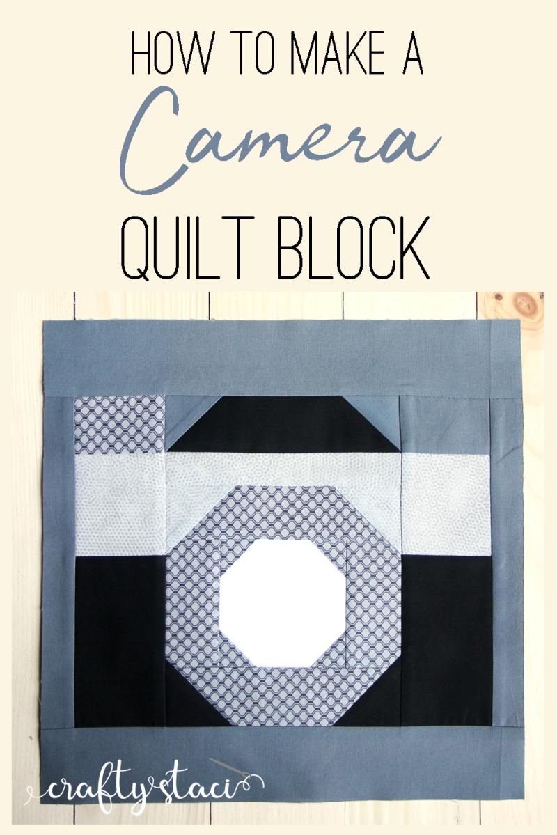 How to make a camera quilt block from craftystaci.com #cameraquilt #photoquilt #quiltforphotographer #photographerquilt