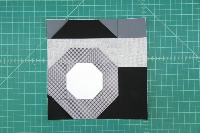 Sections A B and C sewn together for camera quilt block