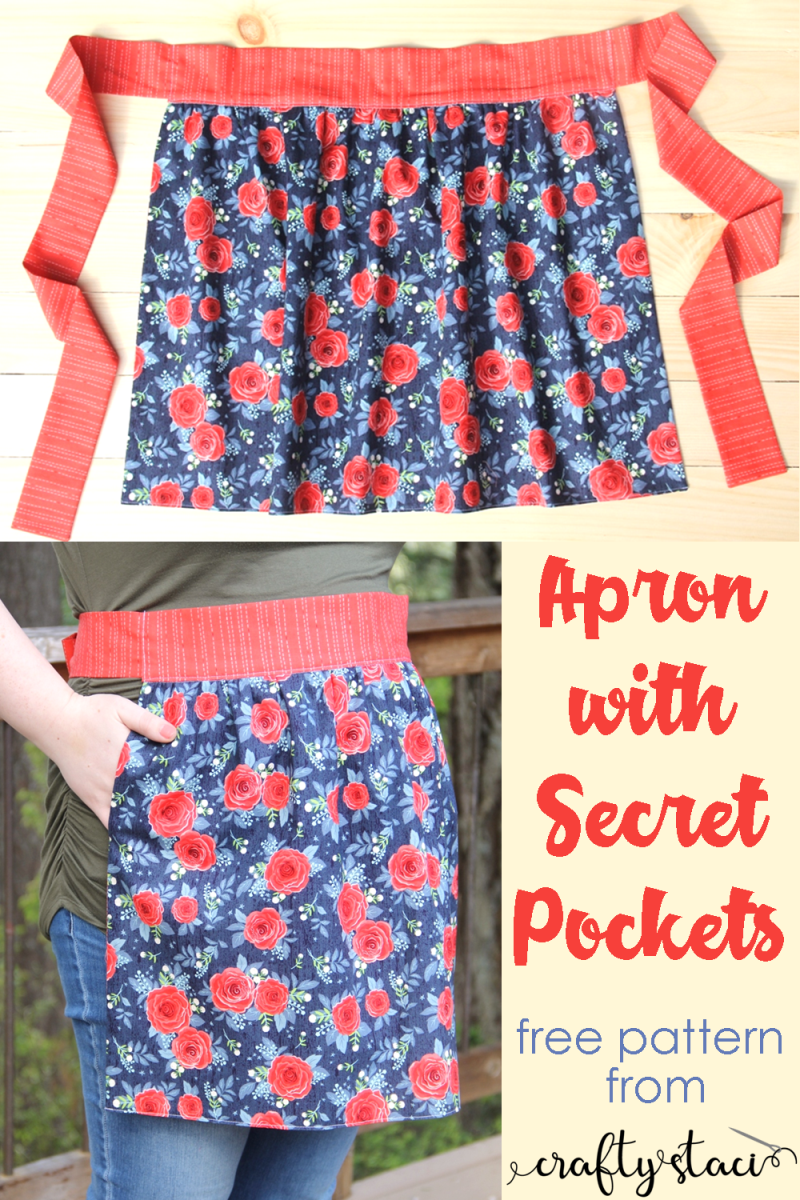 Apron with Secret Pockets from craftystaci.com #apronpattern #freeapronpattern #apronsewingpattern #apronwithpockets #ithaspockets