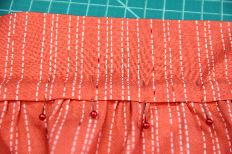 Fold waistband over skirt for apron with secret pockets