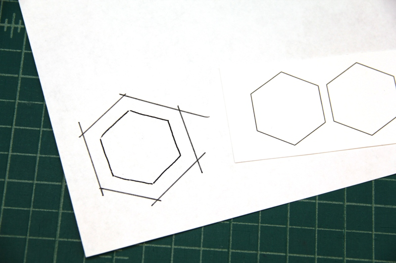 Drawing lines for template for fabric hexie earrings