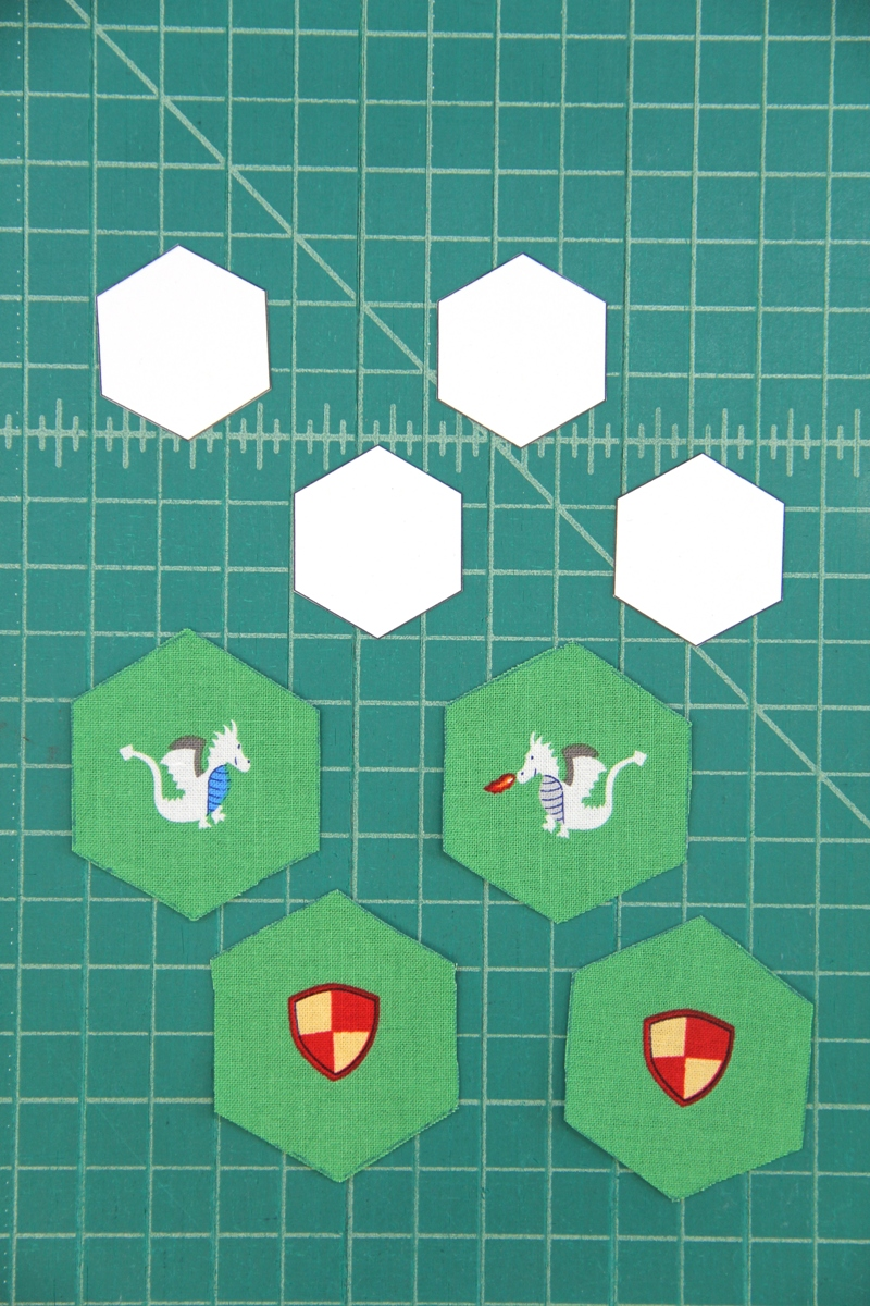 Fabric and card stock hexagons for fabric hexie earrings