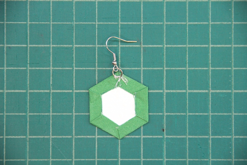 jump ring sewn in for fabric hexie earrings