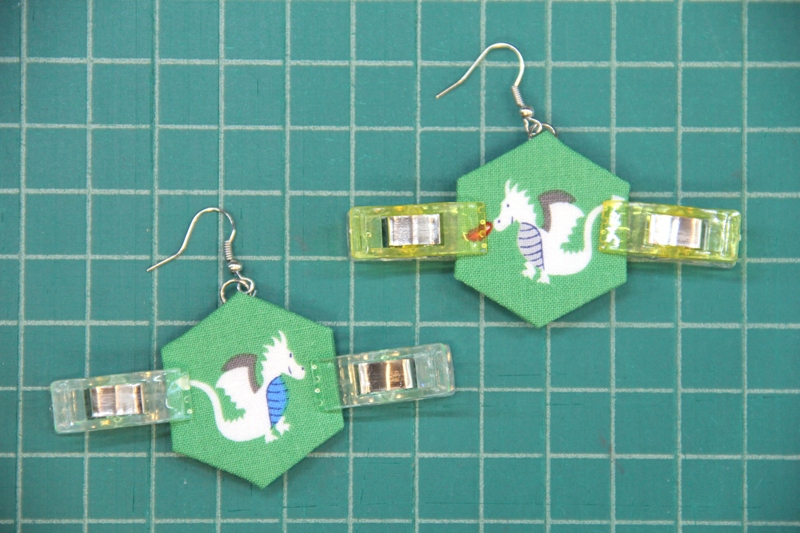 Two hexagons clipped together for fabric hexie earrings